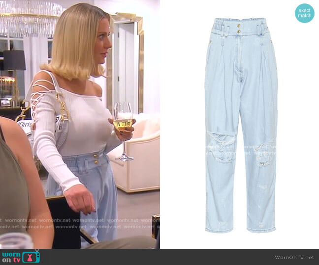 High-rise Wide-leg Jeans by Balmain worn by Dorit Kemsley  on The Real Housewives of Beverly Hills