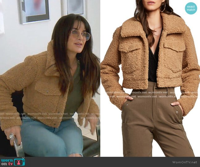 Crop Sherpa Jacket by Bardot worn by Kyle Richards  on The Real Housewives of Beverly Hills