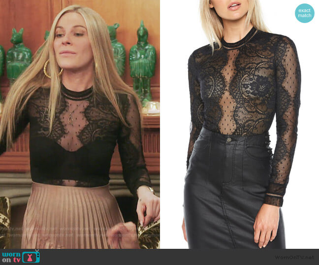 Opia Lace Bodysuit by Bardot worn by Leah McSweeney  on The Real Housewives of New York City