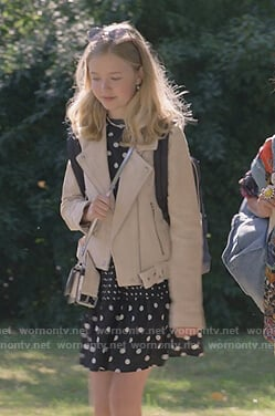 Stacey's beige suede moto jacket on The Baby-Sitters Club on The Baby-Sitters Club