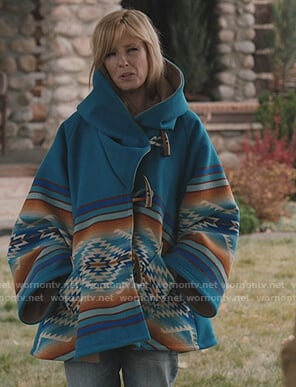Beth's blue hooded coat on Yellowstone