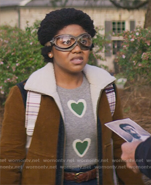 Beth's gray heart print sweater on Stargirl