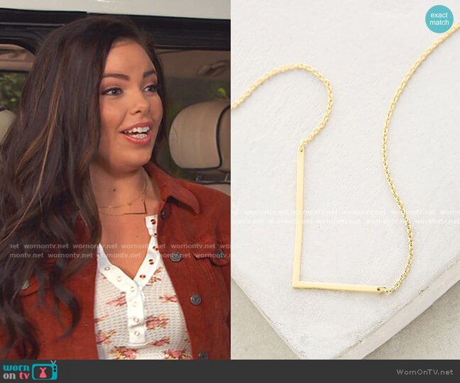 Block Letter Monogram Necklace by Anthropologie worn by Lou Hockhauser (Miranda May) on Bunkd