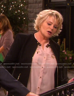 Bonnie's pink zip pocket blouse and black jacket on Days of our Lives
