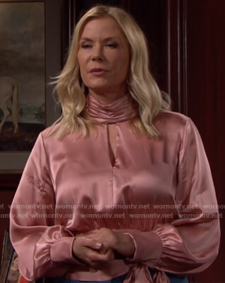Brooke's pink keyhole satin blouse on The Bold and the Beautiful