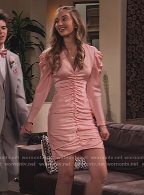 Brooke's pink satin ruched dress on The Expanding Universe of Ashley Garcia