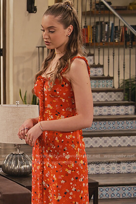 Brooke's red floral dress on The Expanding Universe of Ashley Garcia
