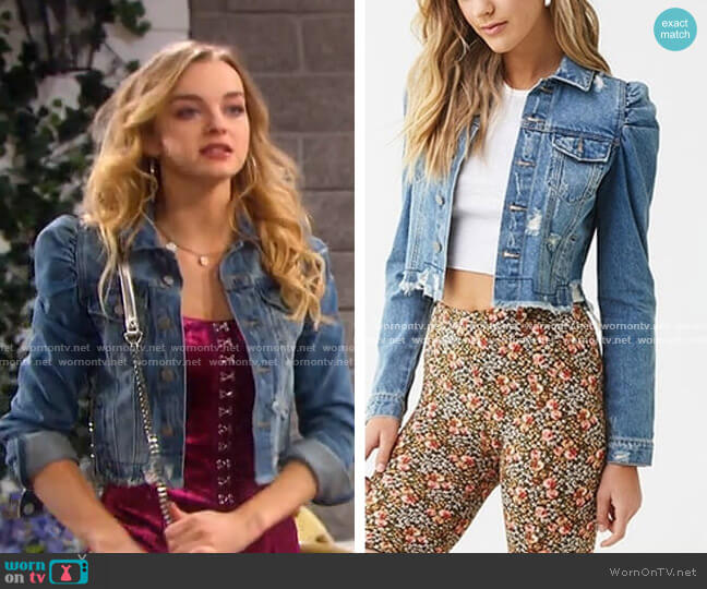Distressed Denim Puff-Sleeve Jacket by Forever 21 worn by Claire Brady (Olivia Keegan) on Days of our Lives