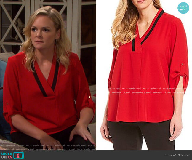 Contrast V-Neck Roll-Tab Sleeve Top by Calvin Klein worn by Belle Brady (Martha Madison) on Days of our Lives
