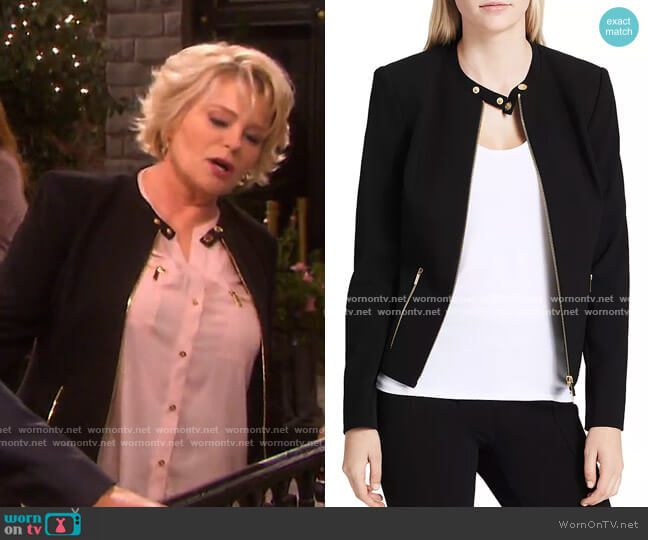 Crepe Moto Jacket by Calvin Klein worn by Bonnie Lockhart (Judi Evans) on Days of our Lives