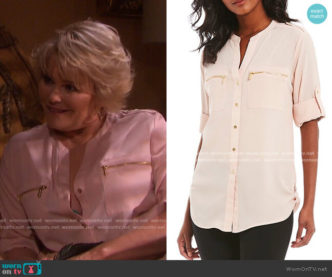Zip-Pocket Roll Tab Blouse by Calvin Klein worn by Bonnie Lockhart (Judi Evans) on Days of our Lives
