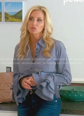 Camille's blue striped bell sleeve blouse on The Real Housewives of Beverly Hills