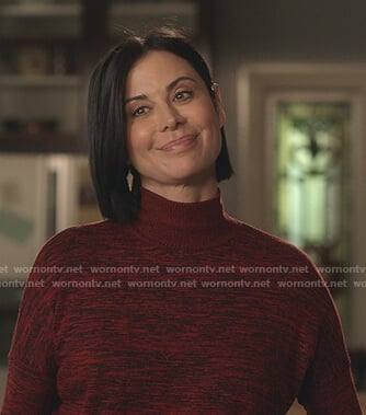 Cassie's red space dye turtleneck sweater on Good Witch