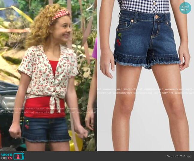 Ruffle Hem Sequin Cherry Jean Shorts by Cat & Jack worn by Destiny Baker (Mallory James Mahoney) on Bunkd
