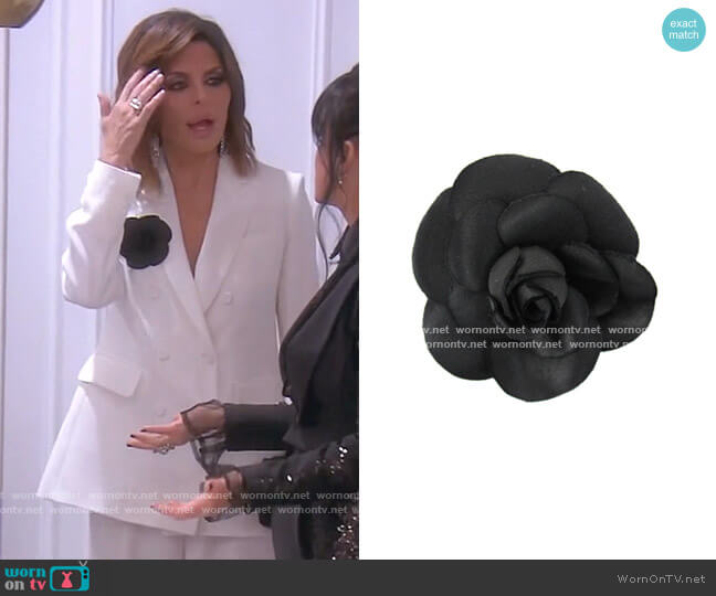 Camellia Flower Corsage by Chanel worn by Lisa Rinna  on The Real Housewives of Beverly Hills