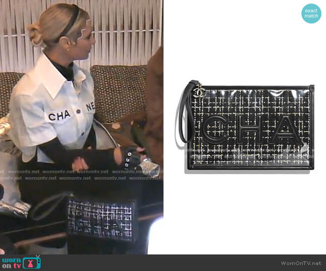 Tweed PVC Lambskin Large Pouch by Chanel worn by Dorit Kemsley  on The Real Housewives of Beverly Hills