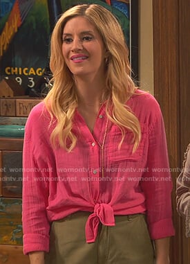 Chelsea's pink gauze button down shirt on Bunkd