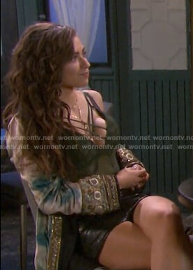 Ciara's green tie dye embellished kimono on Days of our Lives