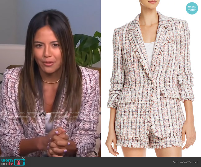Khloe Frayed Tweed Blazer by Cinq a Sept worn by Erin Lim  on E! News