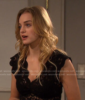 Claire's black scalloped lace top on Days of our Lives