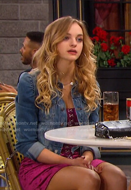 Claire's pink velvet mini dress and denim jacket on Days of our Lives