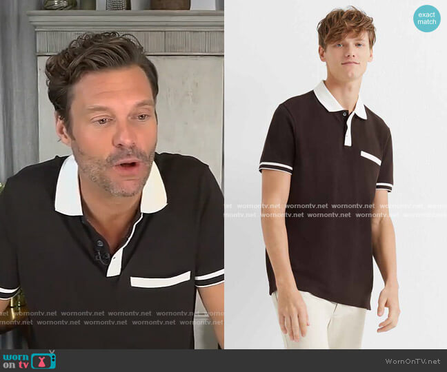 Welt Pocket Polo by Club Monaco worn by Ryan Seacrest on Live with Kelly and Ryan