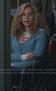 Yolanda's embroidered denim jacket and pointelle sweater on Stargirl