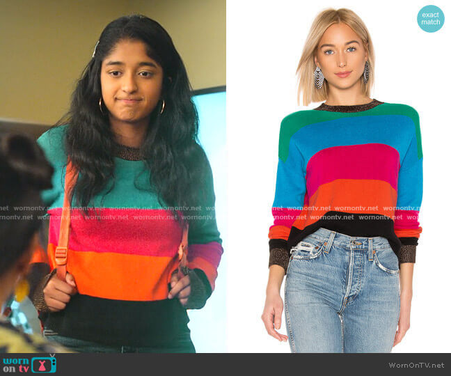 Crop Striped Sweater by Pam & Gela worn by Devi Vishwakumar (Maitreyi Ramakrishnan) on Never Have I Ever