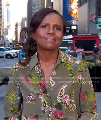 Deborah's green floral and leopard print blouse on Good Morning America