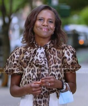 Deborah's leopard tie neck short sleeve top on Good Morning America