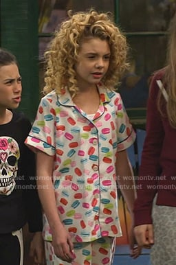 Destiny's macaron print short sleeve pajamas on Bunkd