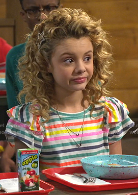Destiny's multicolor striped ruffle tee on Bunkd