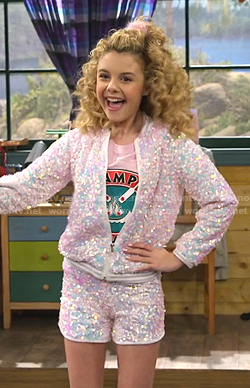 Destiny's sequin bomber jacket and shorts on Bunkd