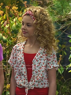 Destiny's white cherry print tie front top on Bunkd