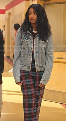 Devi's denim jacket and blue plaid belted pants on Never Have I Ever