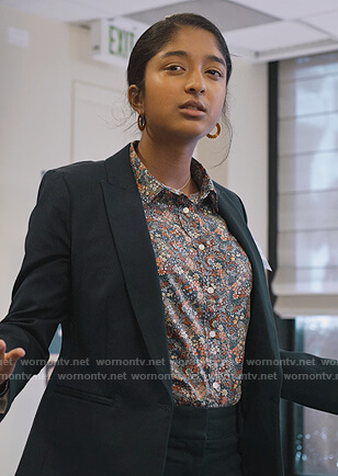 Devi's floral button down shirt on Never Have I Ever