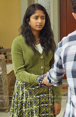 Devi's green cropped cardigan on Never Have I Ever