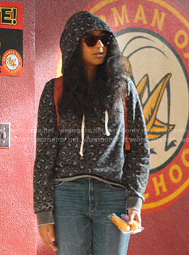 Devi's grey leopard print hoodie on Never Have I Ever