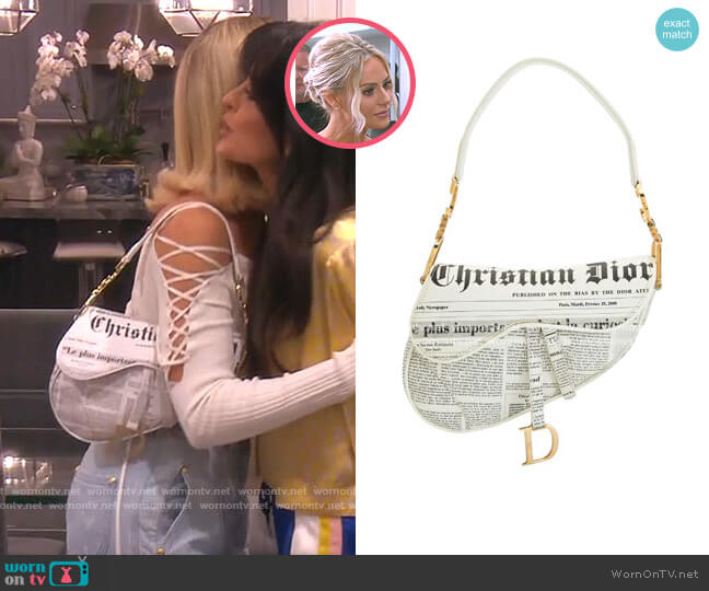 Newspaper Saddle Handbag by Christian Dior worn by Dorit Kemsley  on The Real Housewives of Beverly Hills