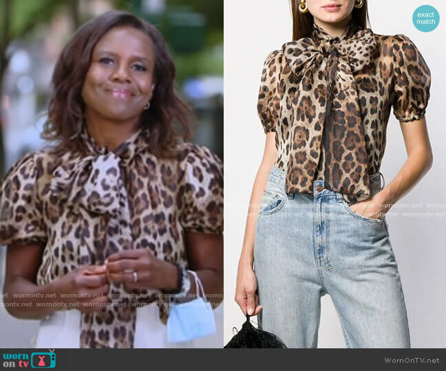 Leopard Print Pussy Bow Blouse by Dolce & Gabbana worn by Deborah Roberts  on Good Morning America