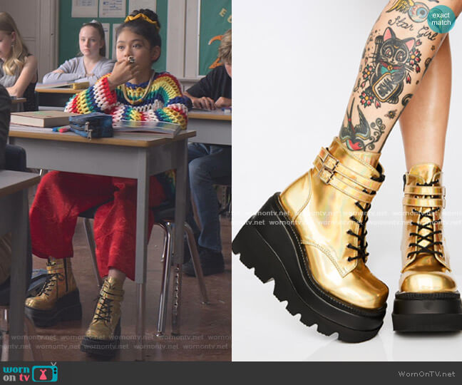 Technopagan Boots by Demonia x Dolls Kill worn by Claudia Kishi (Momona Tamada) on The Baby-Sitters Club