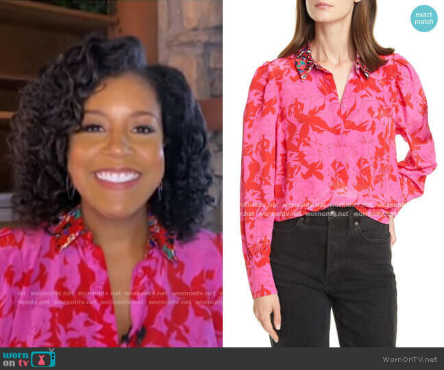 Dominique Top by Tanya Taylor worn by Sheinelle Jones  on Today