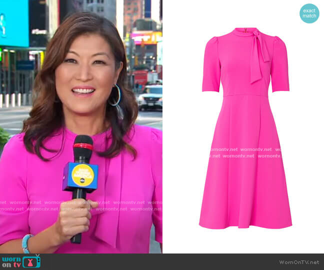 Electric Pink Tie Neck Dress by Donna Morgan worn by Juju Chang