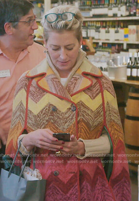 Dorinda's multicolored chevron cape coat on The Real Housewives of New York City