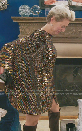 Dorinda's multicolored sequin dress on The Real Housewives of New York City