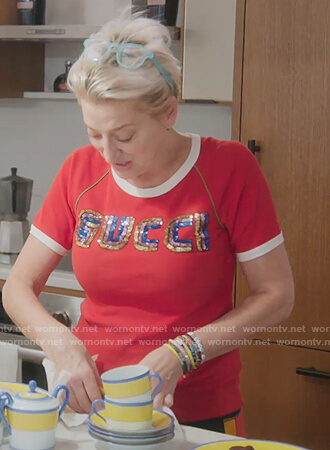 Dorinda's red Gucci sequin tee on The Real Housewives of New York City