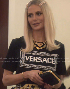 Dorit's black Versace print tee on The Real Housewives of Beverly Hills