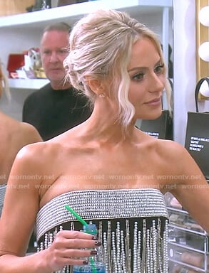Dorit's embellished strapless mini dress on The Real Housewives of Beverly Hills