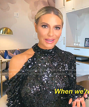Dorit's black sequin cutout top on The Real Housewives of Beverly Hills