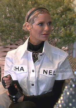 Dorit's white Chanel shirt on The Real Housewives of Beverly Hills